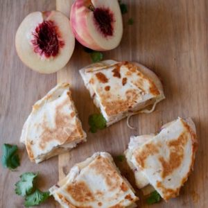 Dinner tonight: chicken, peach and pepper jack quesadillas