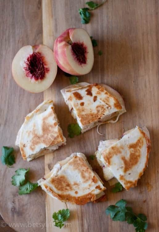 Chicken Peach and Pepperjack Cheese Quesadillas |Betsylife.com