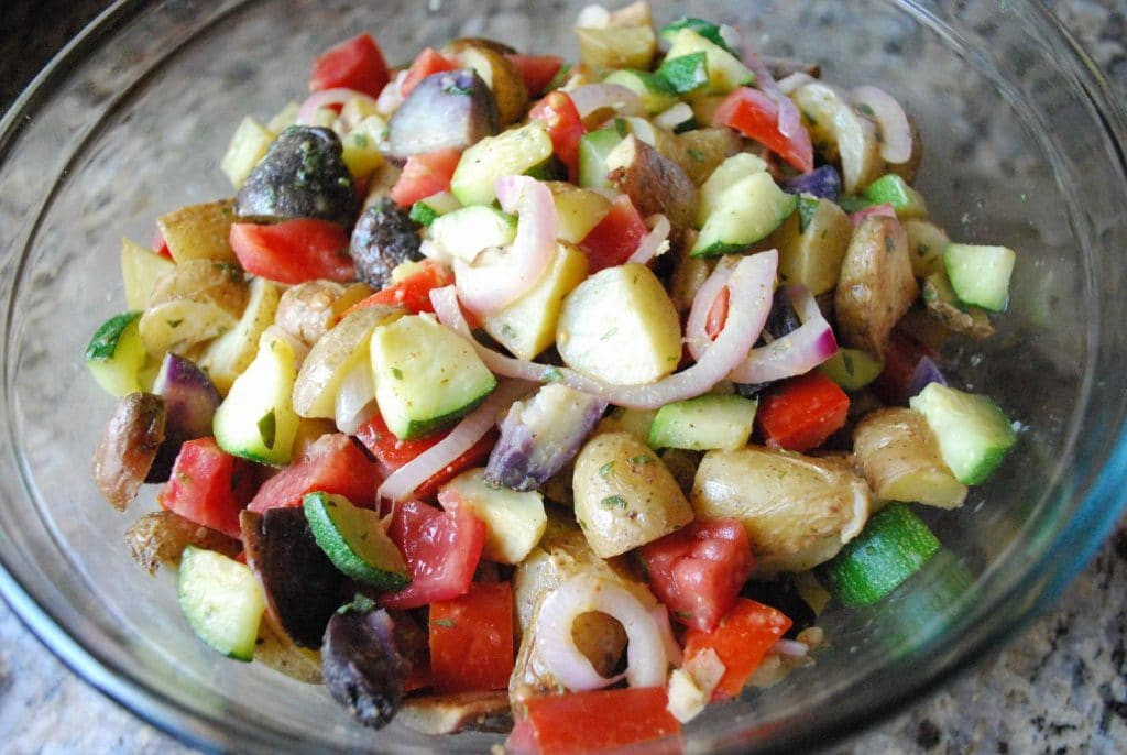 Roasted Vegetable Potato Salad | Betsylife.com