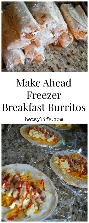 Make Ahead Freezer Breakfast Burritos wrapped in plastic