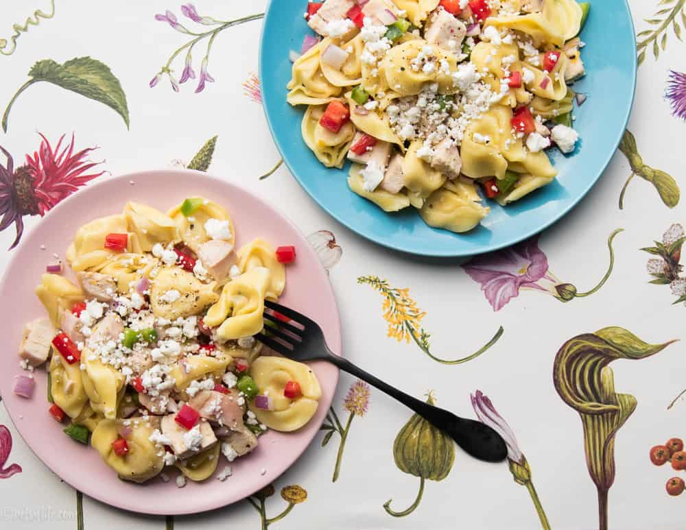 pink plate and a blue plate filled with tortellini pasta salad on a floral background