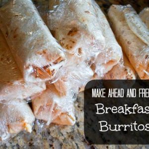 plastic-wrapped breakfast burritos