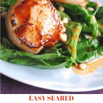 Easy seared scallops with spinach and paprika syrup