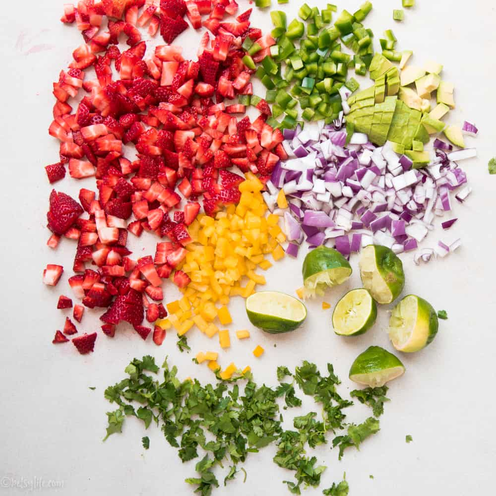 ingredients for strawberry salsa chopped and prepped