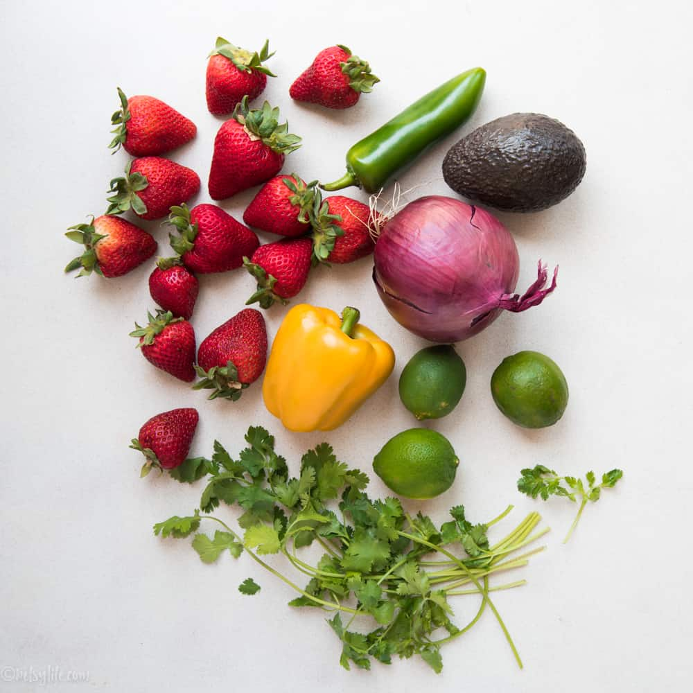 Ingredients for strawberry salsa