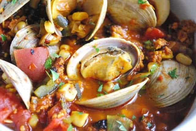 Grill-Braised Clams and Chorizo in a tomato saffron broth recipe |Betsylife.com