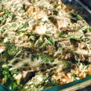 Garlicky Spinach-Sausage Gratin
