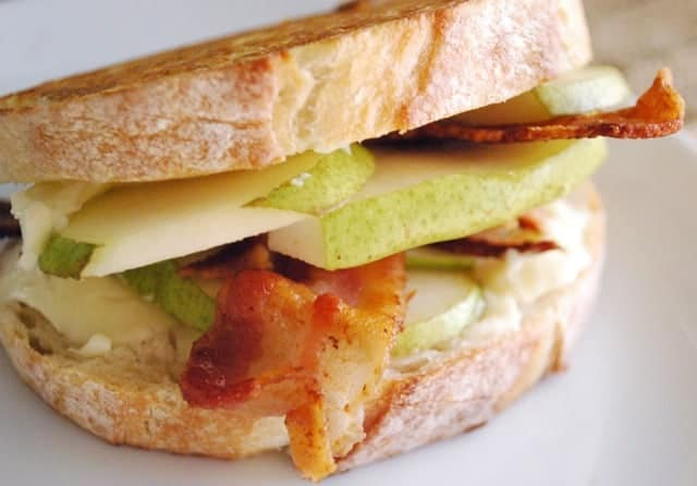 Pear, Brie and Bacon Grilled Cheese