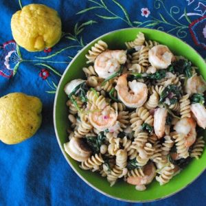 Seasonal Potluck: Lemony Pasta Salad with Shrimp