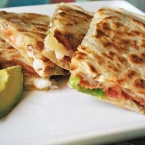Football Food: Shrimp and Bacon Quesadilla