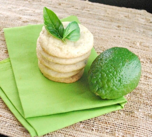 stack of Basil Lime Sugar Cookies