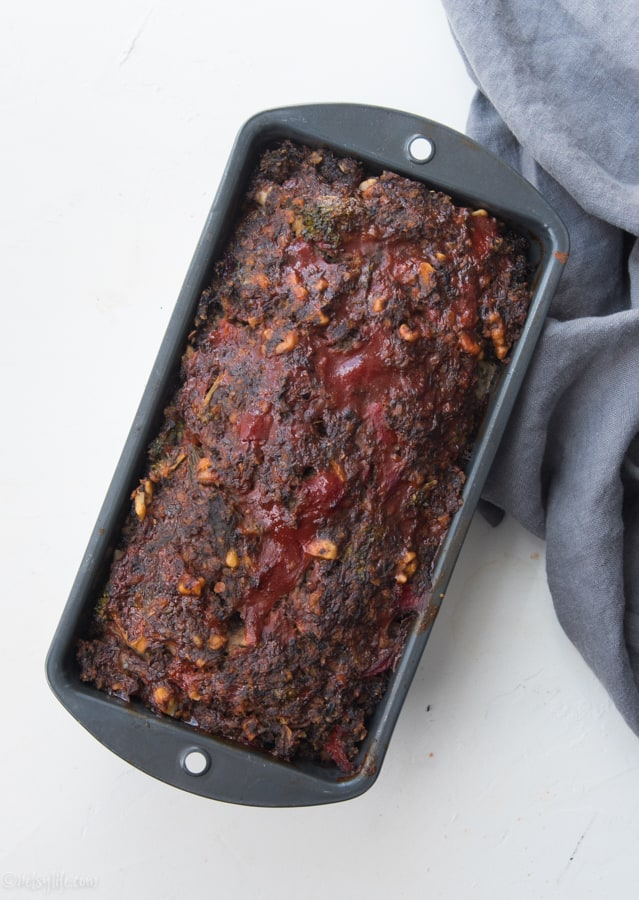 Meatless Meatloaf in a loaf pan fresh from the oven