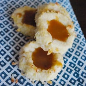Salted Caramel and Coconut Thumbprint Cookies