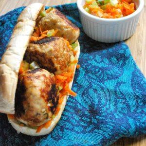 SRC: Basil Meatball Sandwiches with Crunchy Veggie Slaw