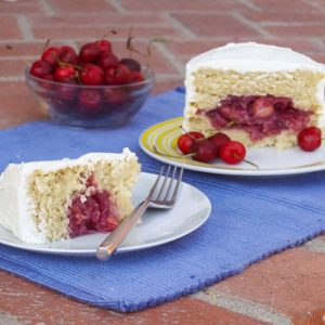 Cherry Filled Almond Cake