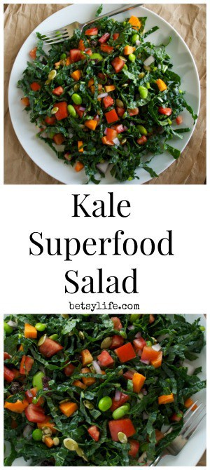 Kale Superfood Salad on white plate with text