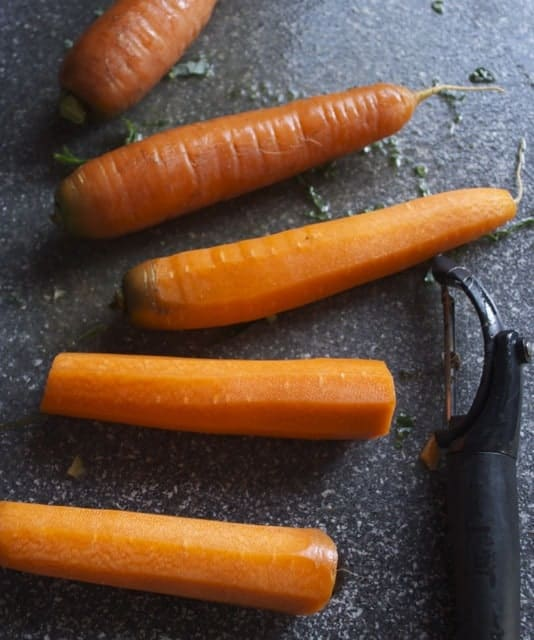 carrots with peeler