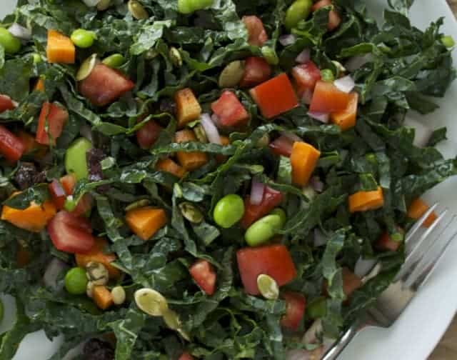 kale with edamame tomatoes and carrots