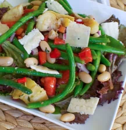 Artichoke and Bean Salad with Herb Dressing | betsyilfe.com #meatlessmonday