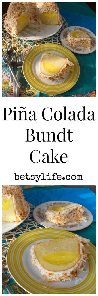 Pina Colada Bundt Cake. Coconut Cake filled with refreshing pineapple curd. Tastes like vacation!