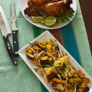 Spicy Eggplant and Cauliflower with Thai Roasted Chicken