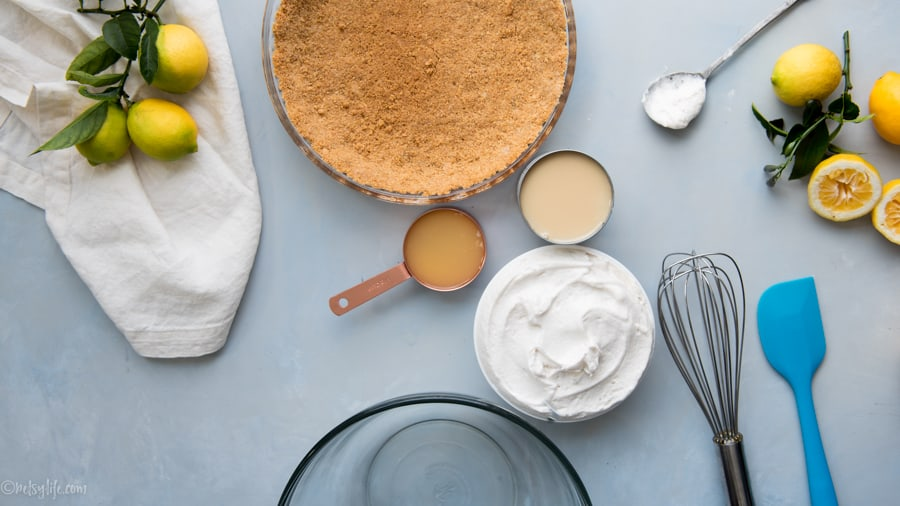 ingredients for no bake lemon cool whip pie