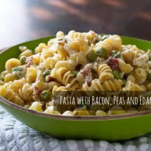 Pasta with Bacon, Peas and Edamame