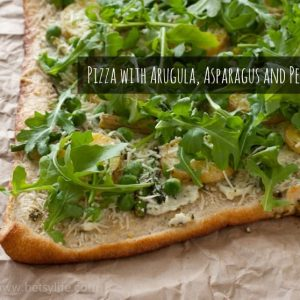 Pizza with Arugula, Asparagus, and Peas