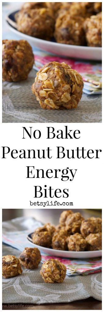 No Bake Peanut Butter Energy Bites text with photo of balls of oats and peanut butter