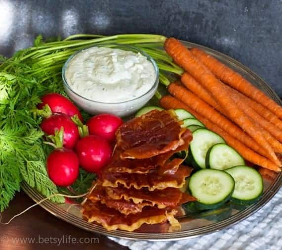 Prosciutto Chips with Creamy Whipped Feta Dip