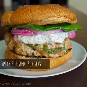 Spicy Poblano Burgers with a Chipotle Cream
