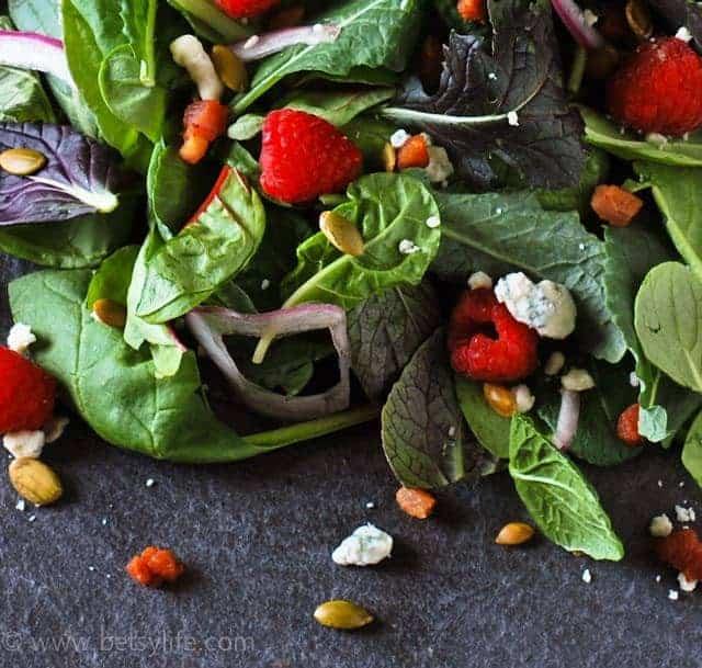 raspberry-blue-cheese-salad-recipe-serving