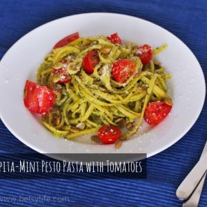 Pepita-Mint Pesto Pasta with Tomatoes