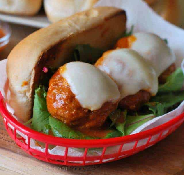 buffalo-chicken-meatball-sub-sandwich-serving