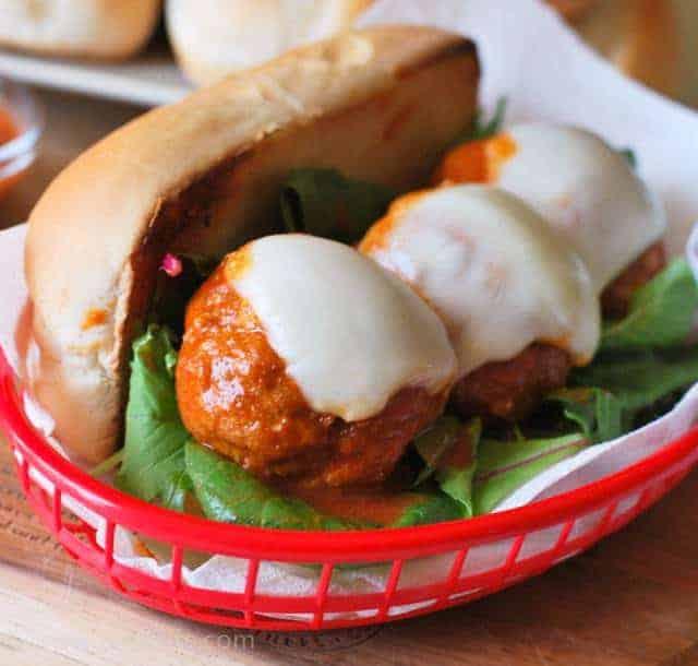 Buffalo Chicken Meatball Sub Sandwich in red basket