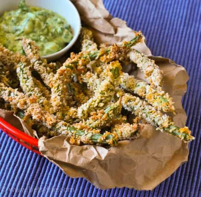 Spicy Green Bean Fries with Avocado Dipping Sauce