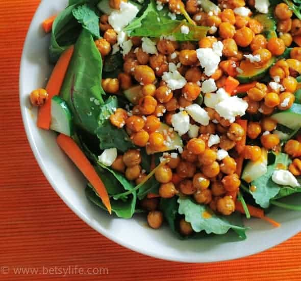 salad topped with chickpeas and feta cheese
