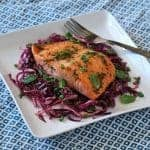 Roasted Salmon with a Cabbage and Mint Slaw