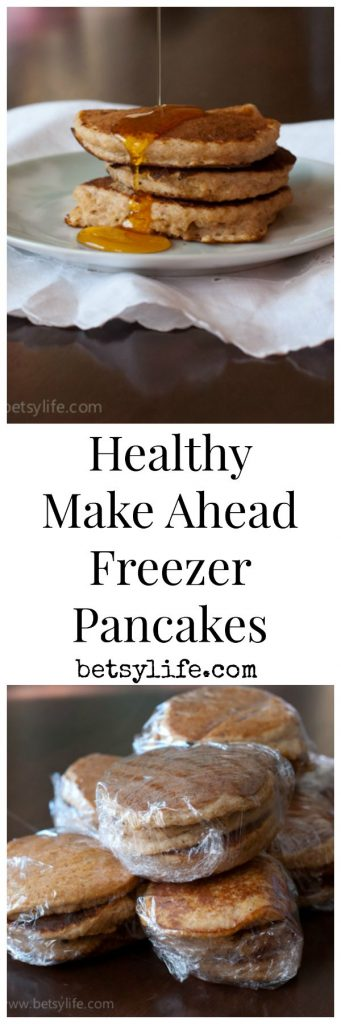 Healthy make ahead freezer Quinoa pancakes. A great recipe for back to school.