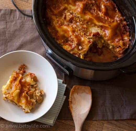 slow cooker of lasagna