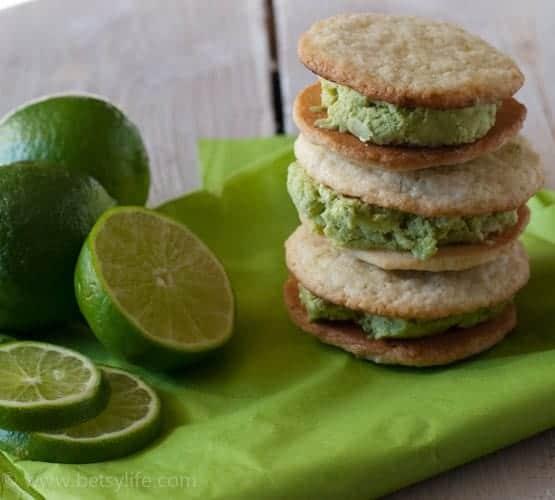 Lime Basil Ice Cream Sandwiches