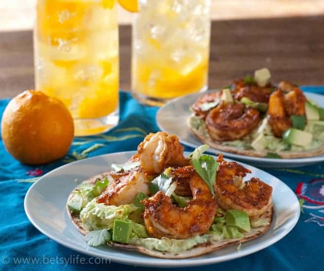Chili tangerine shrimp tostadas with avocado cream and tangerine margaritas #shrimpshowdown www.betsylife.com