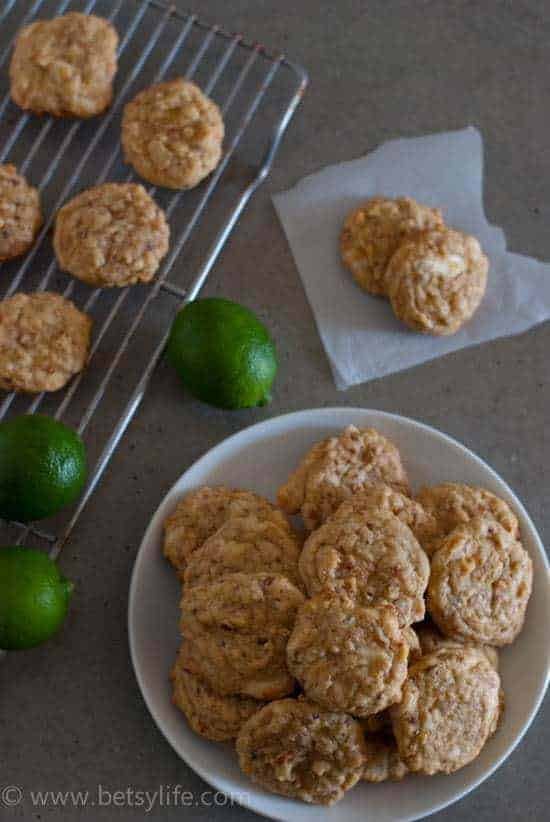White Chocolate Lime Coconut Cookies | Betsylife.com