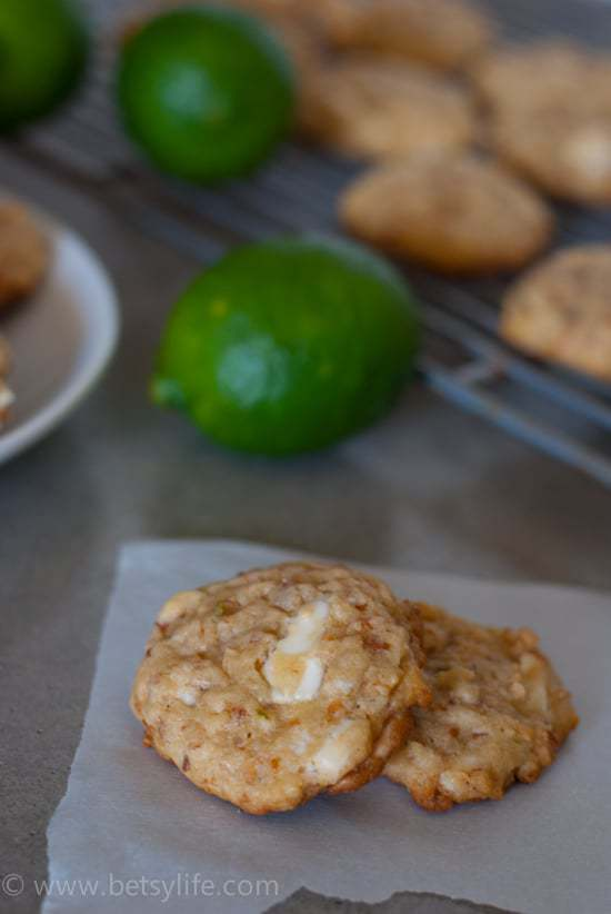 White Chocolate Lime Coconut Cookies