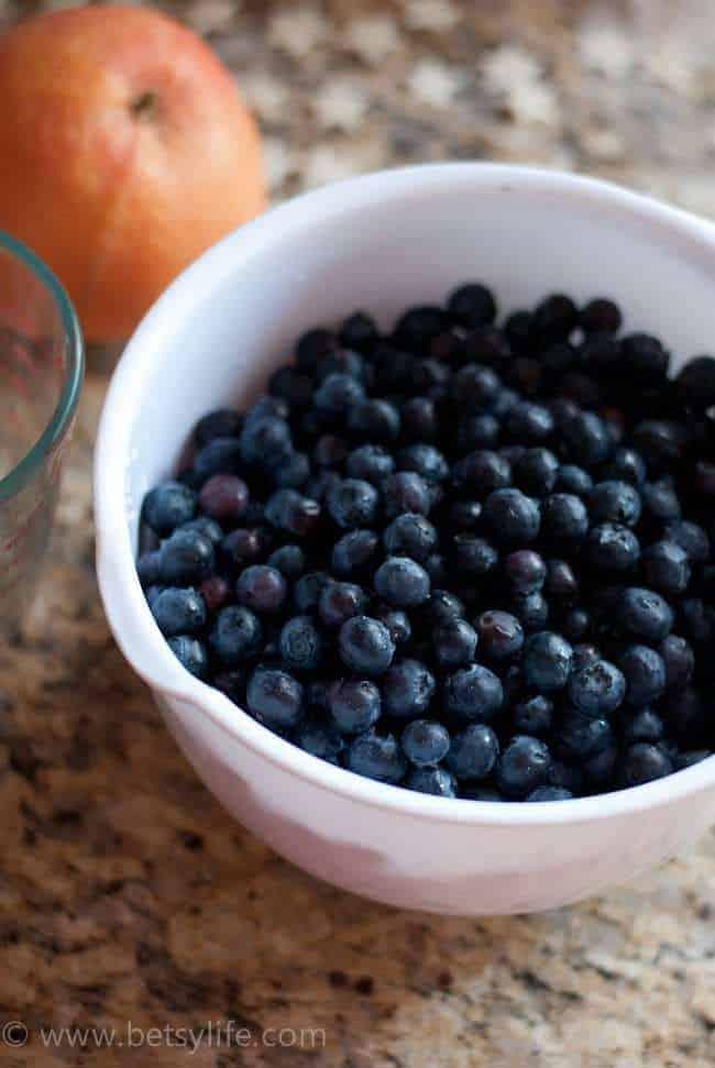 White bowl full of blueberries
