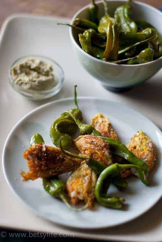 Roasted Shishito Peppers and Stuffed Squash Blossoms