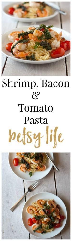 Shrimp, Bacon and Tomato Pasta with Crispy Kale