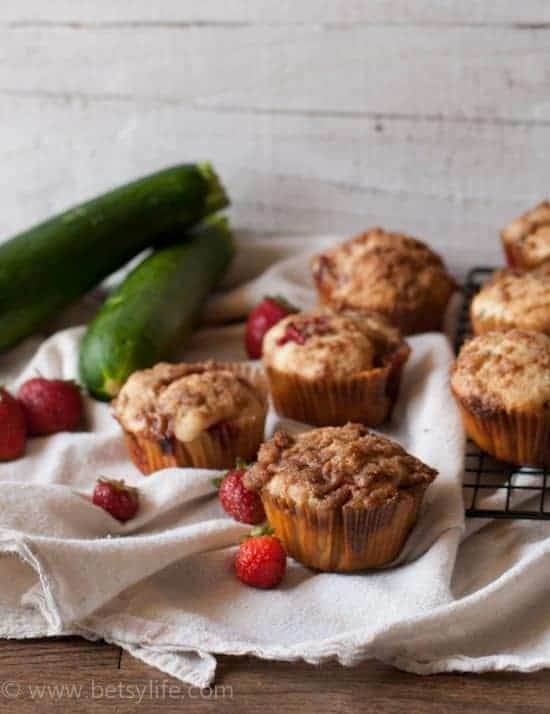 Strawberry Zucchini Muffins | Betsylife.com