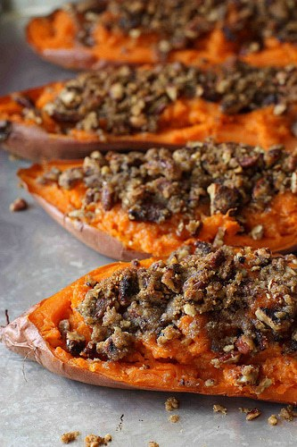 Twice Baked Sweet Potatoes with Chipotle Streusel and The Greatest Holiday Side Dish Recipes Ever | Betsylife.com