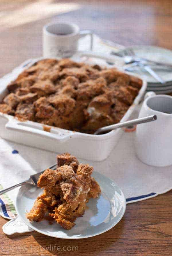 Gingerbread French Toast Casserole. The ultimate holiday brunch food.   Betsylife.com